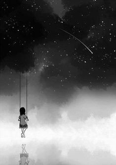 space and contrast because it shows outer space, Shooting stars and a girl on a swing down below the art piece