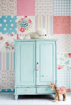 Fun wallpaper patchwork wall from Pink Friday