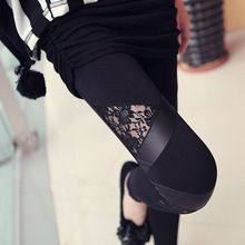 2016 Hot Fashion Leggins Triangular lace PU leather Leggings Skinny Stretch Pants for spring summer and fall free shipping(China (Mainland))
