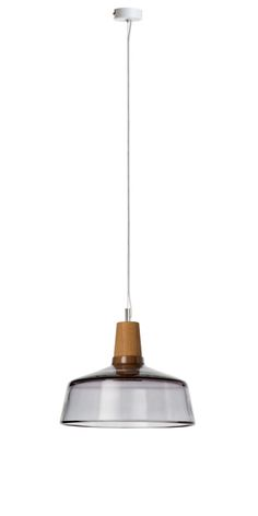 Industrial Glass Pendant Lamp by dreizehngrad. The Industrial Collection is inspired by the design of classic industrial lamps, made from mouth-blown crystal glass and with turned oak wood.