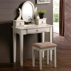 Lovely Oval Mirror Antique White Vanity Set Make Up Table