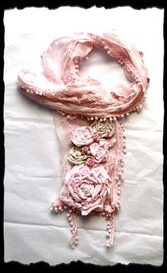 SHabby Chic Easter ROsette Scarf Shawl Neck by TrueRebelClothing
