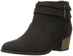 Qupid Women's, Black Distress, Padded sock for added comfort, Brushed brass hardware. #shoes #womenshoes #boot