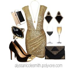 20 Polyvore Combinations for New Year's Eve: whoa boob dress...