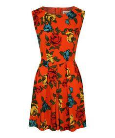 Look what I found on #zulily! Red Wild Rose Modesto Sleeveless Dress by Louche #zulilyfinds