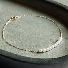 Delicate Silver Pearl Cluster Bracelet £7.00 - Bracelets and Bangles - Sterling Silver Bracelets Buy, Engraved Silver Jewellery, Personalised Mens, Womens Gifts, Online, UK