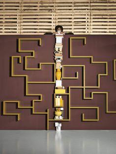 LagoLinea_shelf, design by Daniele Lago #systems #lagolinea #living #yellow