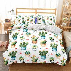 Cactus duvet Duvet Bedding Sets, Luxury Bedding Sets, Bed Duvet Covers, Duvet Cover Sets, Linen Bedding, Bed Linens, King Comforter, Dorm Bedding, Gray Comforter