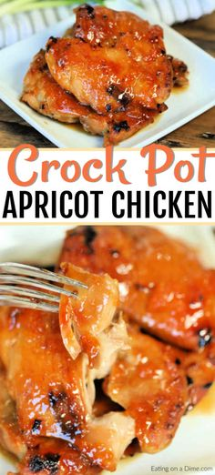 Crock Pot Apricot Chicken – Eating on a Dime Crock Pot Apricot Chicken Crock Pot Apricot Chicken Recipe is sweet and savory. Apricot preserves combine with soy sauce and ginger for chicken you can't resist. Try this easy meal. Chicken Thights Recipes, Chicken Parmesan Recipes, Chicken Salad Recipes, Recipe Chicken, Lemon Chicken, Crockpot Recipes For Chicken, Boneless Chicken Thighs Crockpot, Slow Cooker Chicken Thighs, Chicken Sauce