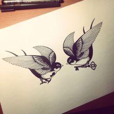 Swallows Tattoo. my work,my sketch on Behance