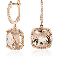 Blue Nile Cushion Cut Morganite and Diamond Halo Drop Earrings ($2,600) ❤ liked on Polyvore featuring jewelry, earrings, hoop earrings, 14k earrings, cushion cut earrings, 14 karat gold hoop earrings and earring jewelry
