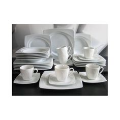 Dinnerware Dishes Set Plates 30 Pieces Crockery Cups Saucers Mugs Soup White