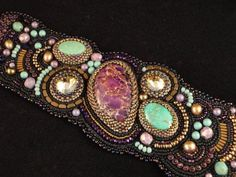 Bead Embroidered Cuff It's a Mystery by JFritchenJewelry on Etsy, $275.00