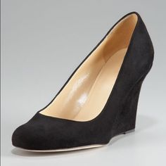 """[Kate Spade]kiki wedge pump This sleek, seamless pump is completely on-trend and timeless at the same time. Suede upper. Leather lining. Leather soles. Approx. 3 ¼"""" covered wedge. No PayPal + No Trades. kate spade Shoes Heels"""