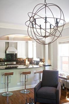 Randy Heller - Pure & Simple - Interior Designer - Highland Park - Modern - Kitchen - Wire Chandelier - Upholstered Chair - Bar Stools - Wood Floor - Arch - Neutrals - Large Windows