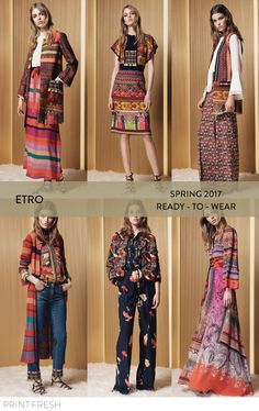 Spring 2017 Ready-to-wear Runway Print & Pattern Trends- Etro Images: vogue.com bold embroidery, Peruvian textiles, bell sleeves, 70s inspired dresses