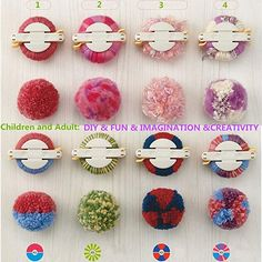 Pom Pom Maker, 4 Größen Fluff Ball Weaver Nadel PomPom Maker Sets-DIY Pompoms Handwerk Puppe Making Kits -Wool Garn Knitting Handwerk Werkzeug Set Pom-Pom Maker für Kinder & Kinder oder Erwachsene #handarbeit #affiliate Pom Pom Crafts, Yarn Crafts, Crafts For Kids, Arts And Crafts, Diy Craft Projects, Yarn Projects, Pom Pom Rug, Pom Pom Wreath, Pom Pom Kranz