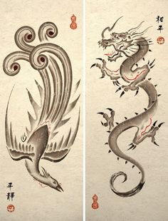 Sumie Asian Dragon and Phoenix Art Prints by TigerHouseArt on Etsy
