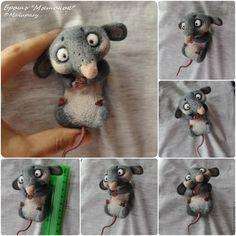 Купить Броши-мышки для примера, сухое валяние - серый, мышь, мышонок, брошь, валяная брошь