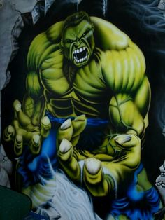 #Hulk #Fan #Art. (Hulk, airbrushed mural(partial)) By: HarKaD. (THE * 5 * STÅR * ÅWARD * OF: * AW YEAH, IT'S MAJOR ÅWESOMENESS!!!™) ÅÅÅ+