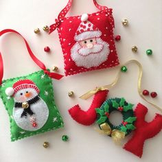 Christmas ornaments ( set of 3 ) handmade and design in felt - ribbon - button - jingle bells - beads. They are 3 one is a cute small pillow with