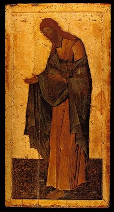St John The Baptist From the Deesis Range School or cultural centre: Moscow Last quarter of the century 210 × 109 cm Annunciation Cathedral of the Moscow Kremlin, Moscow, Russia Russian Icons, Russian Art, Religious Icons, Religious Art, Greek Icons, Web Gallery Of Art, Bible Illustrations, Jean Baptiste, Dibujo