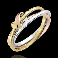 Ring Origami Herz 3 anneaux in Weiß- Gelb- und Roségold Engagement Ring Rose Gold, Jewelry Rings, Jewelry Accessories, Ring Bearer Outfit, Ring Tattoos, Ear Cuffs, Ring Verlobung, Ring Designs, Gold Rings
