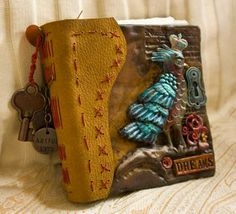 polymer clay book covers with leather spine