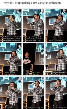 "(gif set) ""The tiny little Jensen Ackles is 6'2"".""... ""Jared is... I would say offensively tall."" - Richard Speight Jr. Love him. Hahaha."