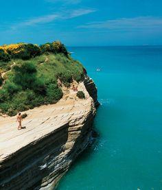 Wind-carved cliffs of Corfu, Greece