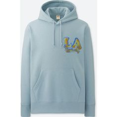 UNIQLO Men's Mickey Travels Graphic Hoodie ($20) ❤ liked on Polyvore featuring men's fashion, men's clothing, men's hoodies, light blue, mens hoodie, mens graphic hoodies, mens sweatshirts and hoodies, mens hooded sweatshirts and mens hoodies
