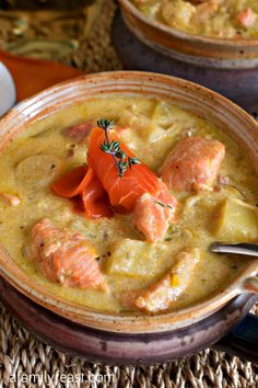 Salmon and Parsnip Chowder yummy Recipes.Salmon and Parsnip Chowder yummy Recipe for Christmas and New Year Cake Fish Dishes, Seafood Dishes, Fish And Seafood, Chowder Recipes, Soup Recipes, Cooking Recipes, Yummy Recipes, Cooking Chili, Cooking 101