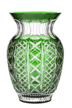 """Waterford Cased Crystal Molly 12"""" Emerald Bouquet Vase"""