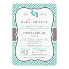 Elegant Turquoise and Taupe Baby Feet Baby Shower Card