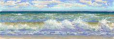"""Daily Paintworks - """"Assateaque Waves - Seascape"""" - Original Fine Art for Sale - © Nancy Poucher"""