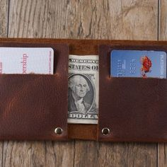 The Full Riveted - Minimalist Wallet Card Holder In Kodiak Oil Tanned Cowhide Leather. by Rogelio Bello