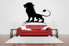 Wall Vinyl Sticker Decals Mural Room Design Pattern Lion Wild Cat King Beautiful Animal bo800 by RoomDecalsAndDesigns on Etsy