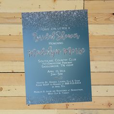 Turquoise Glitter Shower Invitation on Etsy! $8.50 5x7 Digital Download