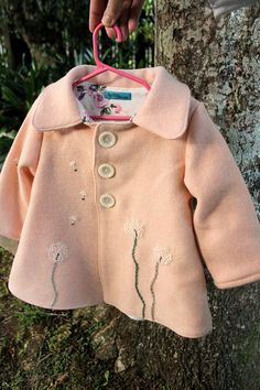 Girl's Wool Coat  Hand Embroidered Dandelions by BigLittle on Etsy