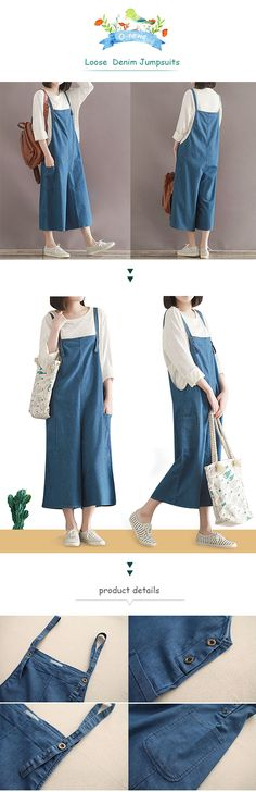 US$ 20.07 O-Newe Casual Women Loose Solid Strap Pockets Denim Jumpsuits