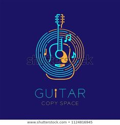 Acoustic guitar, music note with line staff circle shape logo icon outline stroke set dash line design illustration isolated on dark blue background with guitar text and copy space Music Note Logo, Music Logo, Poster Design, Graphic Design Posters, Music Illustration, Illustrations, Monogram Logo, Logos Color, Dance Music