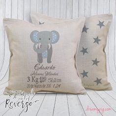Cojín personalizado nacimiento bebé elefante con estrellitas imitación – dreamy pig