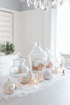 Gingerbread houses in apothecary jars Christmas table display ~ Craftberry Bush