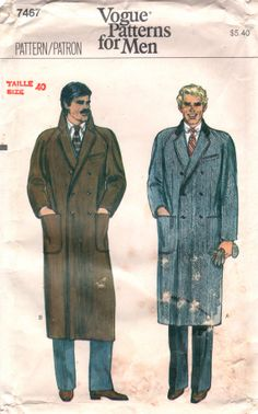 Vogue 7467 1970s MENS Double Breasted Lined COAT adult vintage sewing pattern Pattern by mbchills