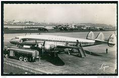 Constellation Airplane Air France Algeria Airport original 1950s Photo postcard
