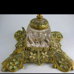 Victorian Inkwell with painted enamel