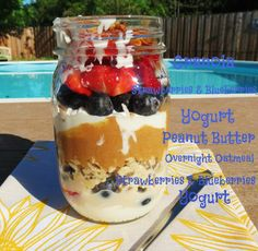 I bet if you cut out the PB it would be less fat!  Jennifer's Breakfast Jar Parfait - A quick grab and go breakfast that takes no time to make. It's filled with fresh berries, oatmeal and yogurt, a perfect healthy meal that will keep you full for hours.
