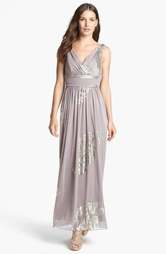 this is the cheapest dress I have found yet, and it is AWESOME! check it out bridesmaids! Patra Foil Print Chiffon Gown available at #Nordstrom