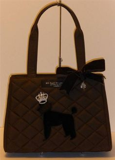 MY FLAT IN LONDON Brown Quilted Tote Bag RHINESTONE CROWN POODLE DOG HANDBAG #MYFLATINLONDON #TotesShoppers
