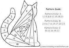 Cat iris fold - free printable iris folding patterns    http://www.circleofcrafters.com/irisfolding/irisfoldingcat.html
